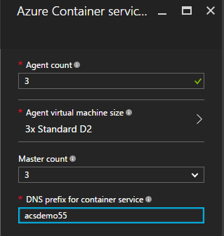 Azure container service settings blade